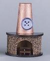 Kamin in halbrunder Form mit Rauchfang