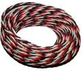 Premium Servo Litze 3x0,08qmm,Schwarz-Rot-Weiß 5m verdr.