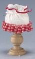 Tischlampe mit Holzfuß und Stoffschirm kariert rot